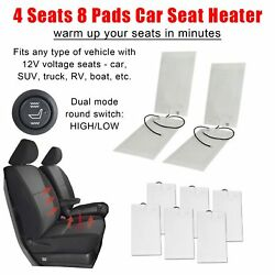 4 Seats Car Seat Heater Kit Cushion wSwitch HiLo Carbon Fiber Pad Universal