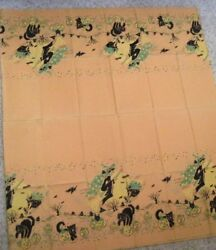 Scary Vintage Halloween Paper Tablecloth W/witches On Brooms, Cats, Pumpkins