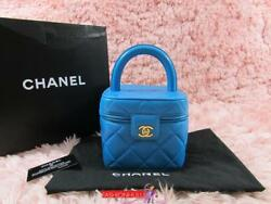 oRARE CHANEL VINTAGE BRIGHT BLUE LAMBSKIN QUILTED VANITY CASE BAG