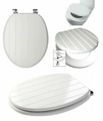 White Tongue And Groove Toilet Seat Wood Wooden Strong Chrome Plated Hinges 9228