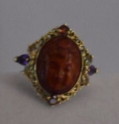 Vintage 14k Gold Ring Large Carnelian Face Carved Stone Semi Precious Stones Sz9