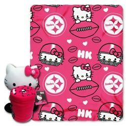 Hello Kitty Blanket And Plush Pillow Set Pittsburgh Steelers New Nfl Football