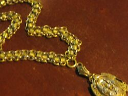 ANTIQUE VICTORIAN LARGE GOLD FILLED MOURNING LOCKET NECKLACE VERY HEAVY CHAIN