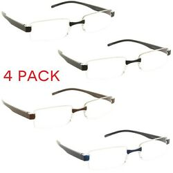 4 Pack Reading Glasses Rimless Clear Lens Readers for Men and Women $10.95