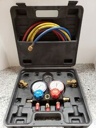 FJC R134a Manifold Gauge And Hose Set With Service Couplers In Case a-x