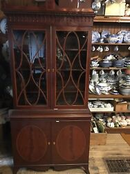 Exceptional Antique English Mahogany Cabinet Inlaid Banding Divided Glass 1890s