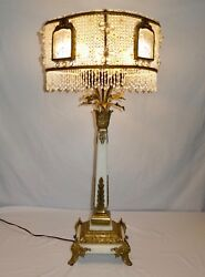 Antique Crystal + Alabaster 8-Bulb Table Lamp. Fringed Shade. 36