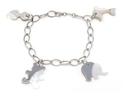 14K White Gold Charm Bracelet with Mother of Pearl 7.5