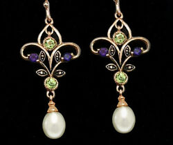 9ct Rose Gold Natural Peridot And Amethyst Chandelier Pearl Suffragette Earrings