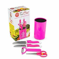 5 Piece Knife Set For Cooking in Pink Best Kids Gift
