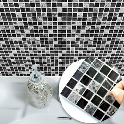 Black Marble Mosaic Tile Sticker Wall Decal Waterproof Self Adhesive Home Decor