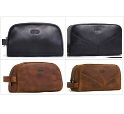 Small Cosmetic Pouch Vintage Leather Toiletry Case For Men Hand-Held Travel Bags