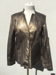 New Collezione Juliana Rose Gold Brown Lamb Leather Women Jacket Sz M Italy