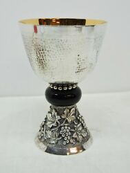 Silver Plated 7 Hammered Chalice Cup Sterling - 420 - Church - Made In Spain