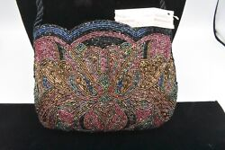 ADG NWT Bag Clutch Purse Heavy Beaded Red Black Bronze Metallic Vintage Formal