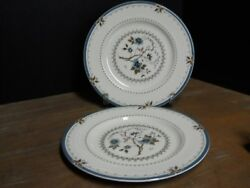 2 Dinner Plate Blue Floral China Ribbed Rim Old Colony Pat Royal Doulton England