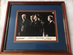 4 PRESIDENTS PHOTO SIGNED NIXON FORD CARTER REAGAN Framed W COA