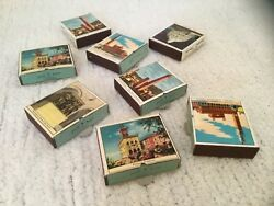 Vintage Italian Matchboxes Set Of 8 With Pull Out Drawer And Petite Matches