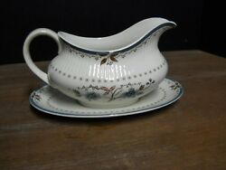 Gravy Boat/under Plate Blue Floral Ribbed Rim Old Colony Pat Royal Doulton Eng
