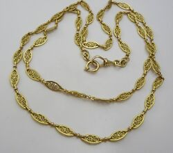 Vintage French 18 karat Gold delicate Filigree Necklace