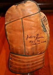 Vintage 1940and039s Goalie Glove Bear Paw Blocker Signed Maple Leafs Johnny Bower