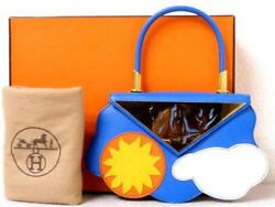 Hermes Kushuburu Blue France Hand Tote Bag Sun Cloud Rare Design Ex++