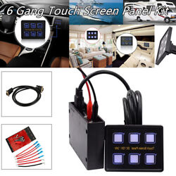Universal 6 Gang LED Touch Screen Panel Switch + Control Box+Wire Car RV Marine