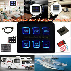 6 Gang LED Touch Screen Switch Panel Control Box Car RV Boat Truck Marine 1224V
