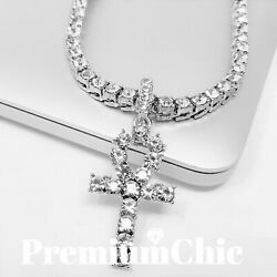 ANKH Cross Pendant Tennis Chain 14K Plated Gold Silver Rose HipHop ICED Necklace $15.49