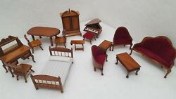 Vintage Hand Crafted Miniature Wooden Dollhouse Furniture Collectible Euc