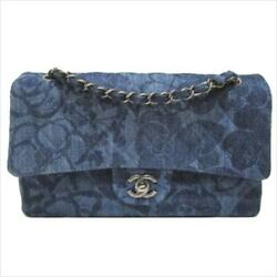 CHANEL A01112 Camellia Denim Blue Chain Shoulder Hand Bag Used Rare Design
