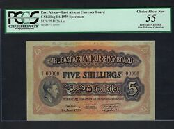 East Africa 5 Shilling 1-6-1939 P26as Specimen About Uncirculated