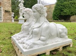 Greek Solid Hand Carved Marble Sphinx Statue Sculpture Wall Top Entrance Hallwa