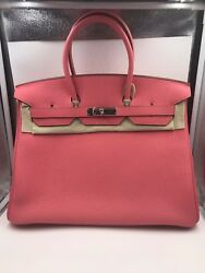 Hermes Birkin 35 Rose Lipstick  ( U5) With Silver Hardware