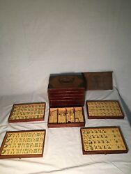 Antique Frenchivorymah-jong Dice Game With 5 Drawer Wooden Box Enriched W/ Brass
