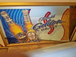 Michelob Golden Draft Beer Mirror Large Beautiful Glass Breweriana Rare Size