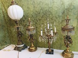 Vintage Antique Italian Table Lamps Brass Crystal Angels Cherubs Victorian
