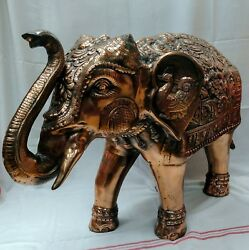 Gun Metal Copper Plated Elephant For Home Entrance Or Event Decor Usa Seller