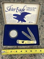1987 Case XX 3254 Knife #0751 & Silver Eagle Collector Knife And Coin Set WCase