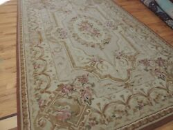 Striking 6x9 French Aubusson Style Area Rug Beige Brown Wool Floral
