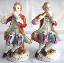 Lot Of 2 Vintage Old Victorian Figurines Made In Occupied Japan Flute Player