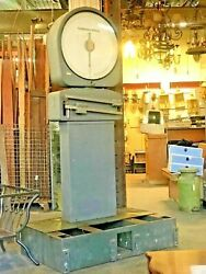 1930and039s - 50and039s Large Pillar Mounted Fairbanks Morse Floor Scale Mid Century