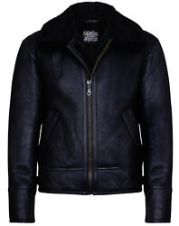 Menand039s Black B3 And039air Forceand039 Real Shearling Sheepskin Aviator Pilot Leather Jacket
