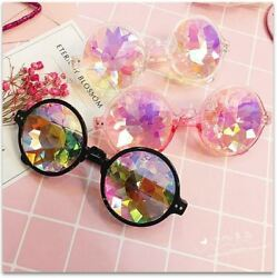 Festival Party Rave Kaleidoscope Rainbow Round Glasses Diffraction Crystal Lens $8.79