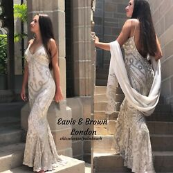 Eavis And Brown London Beige Beaded Gown Size Small