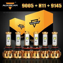 Auxbeam 9005 H11 9145 LED Headlight Bulbs Fog Lights Kit for Ford F-150 2015-18