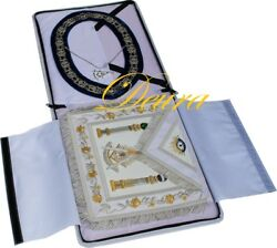 Paster Master Masonic Collar Apron Silver Jewel Case Complete Package Pm-8000
