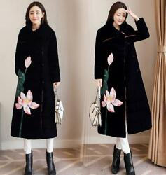 chic Retro WomenS Floral Print Lapel Embroidery Warm Long cotton Coats Overcoats
