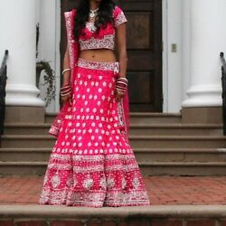 Pink And Silver Heavy Work East Indian Lehanga