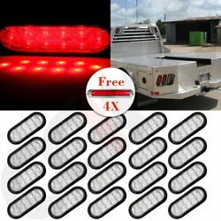 20x Red 10led 6 Oval Truck Trailer Stop Turn Warn Tail Light W/ Red Side Marker